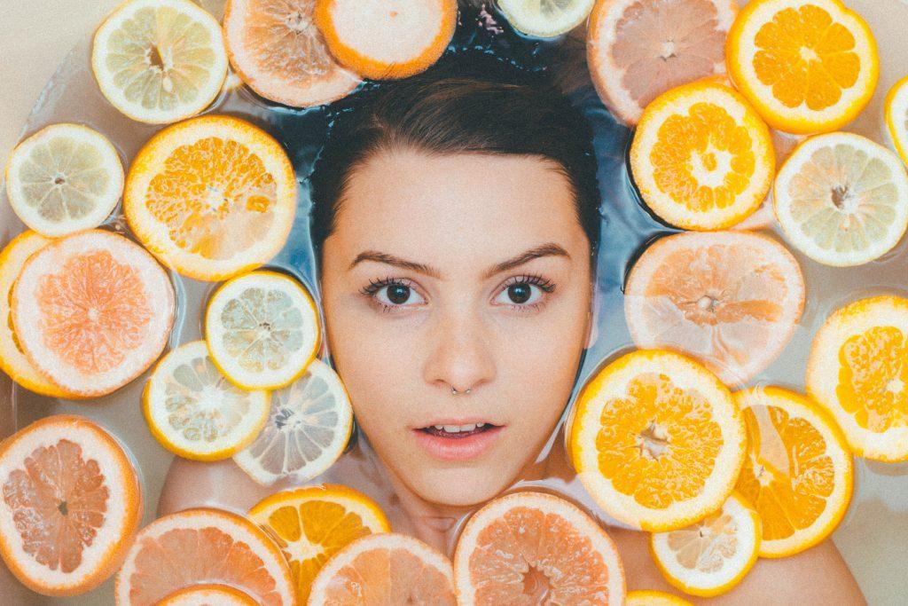 Girl in Orange Slices Bath